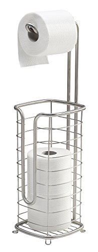 mDesign Free Standing Toilet Paper Holder for Bathroom - Square, Brushed Stainless by mDesign