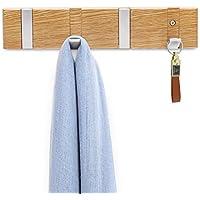 WiHoo Coat Rack Wall Mounted,wall mounted coat rack with 4 Hooks with Oak Solid Wood body and Zinc-nickel Alloy Hidden Coat Hooks For Your office room,Living room,bedroom,Bedroom and Bathroom