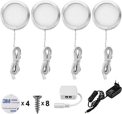 Lightess 4er Schrankbeleuchtung LED Unterbauleuchten Kaltweiß Schrankleuchte LED Nachtlicht Schrank Lichter Wandleuchten Treppen Licht Vitrinenbeleuchtung für Kabinett Schränke Kleiderschrank