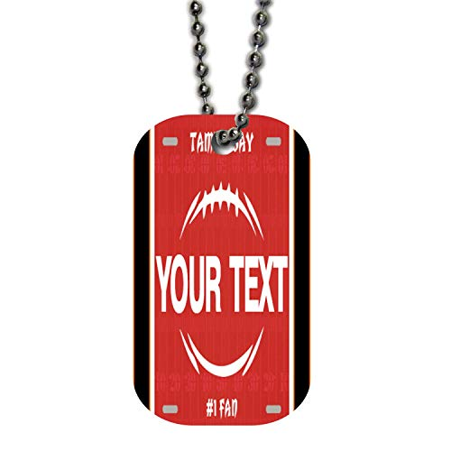 BRGiftShop Personalize Your Own Football Team Tampa Bay Single Sided Metal Military ID Dog Tag with Beaded Chain