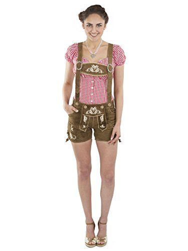 Ladies Lederhosen Hotpants - Bavarian Women leather trouser - brown and pink - Oktoberfest Beerfest Pants Brown