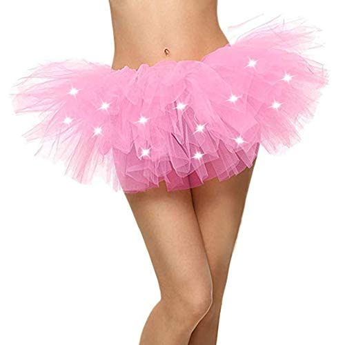 Naokenu Women Classic 5 Layered Tulle Tutu Skirt with Led Light Up Neon(Light Pink with Led -