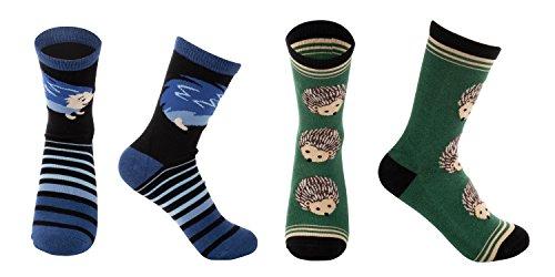 2-Pair Girls Crew Socks - Hedgehog Animal Print, Cute Kids Casual Socks