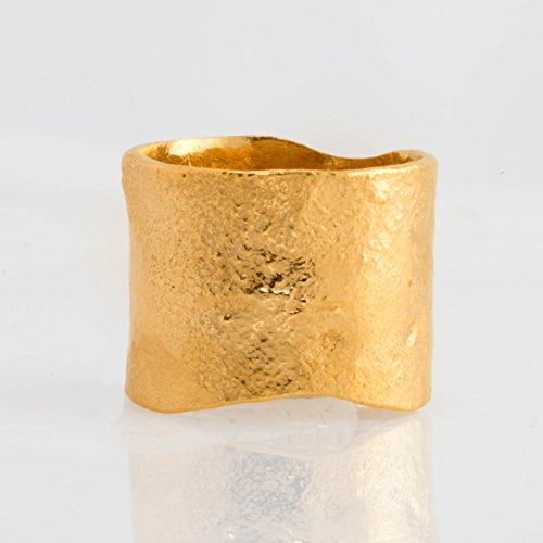 (Extra Wide Gold Band, Size 8, Textured Statement Ring)