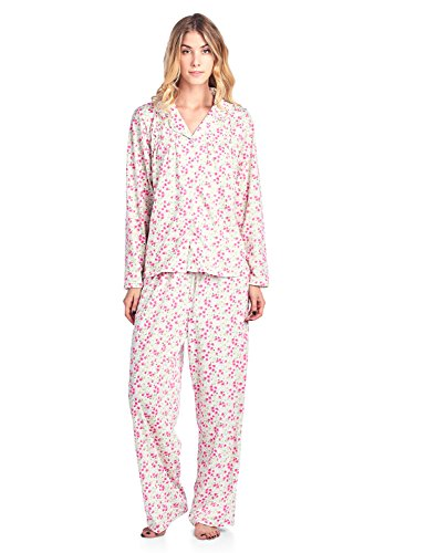 (Casual Nights Women's Long Sleeve Floral Button Down Pajama Set - Pink Floral - Medium)