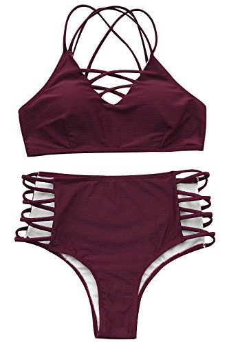 Cupshe Fashion Women's Wine Red Fabric texture Bikini set Beach Swimwear Bathing Suit (S)