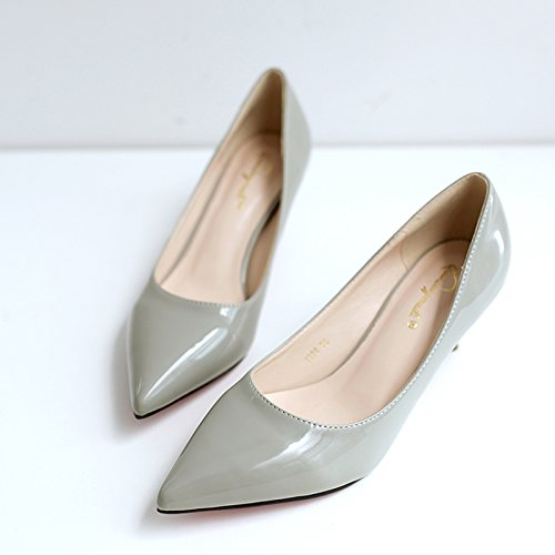 de individuales con alto tacón Zapatos mujer 5 de nuevos Zapatos alto Gray con 5cm tacón tacón con negro Jqdyl Zapatos de Tacones de invierno bajo zapatos dama ZvqxAv1