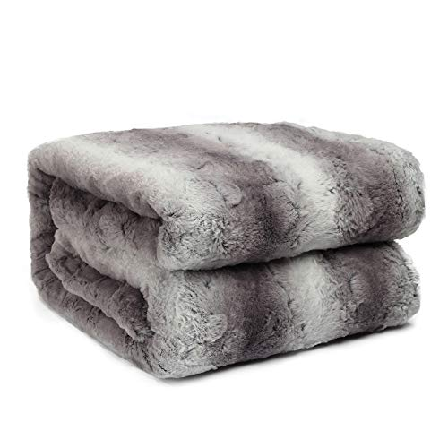 - HoroM Faux Fur Throw Blanket Cozy Warm Fluffy Soft Plush Fuzzy Fleece Sherpa Blankets for Bed or Couch (60