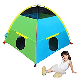 "Houseables Tent, Play House, 58"" x 58"" x 46"", 8 PCS, Multi-Color, Large, Nylon, Pop Up Tents, Backyard Camping, Outdoor…"