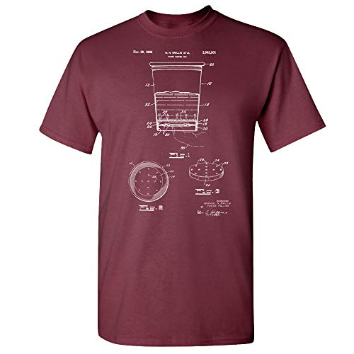 Paper Coffee Cup T-Shirt, Barista Gifts, Coffee Shop Art, Cafe Owner, Espresso Lover, Breakfast Diner, Caffeine Addict Maroon (Small) (Starbucks Barista Aroma Solo Monique Coffee Maker Bais)