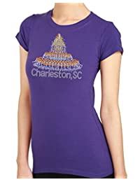 Charleston Waterfront Park Design Rhinestone/stud Womens T-Shirts