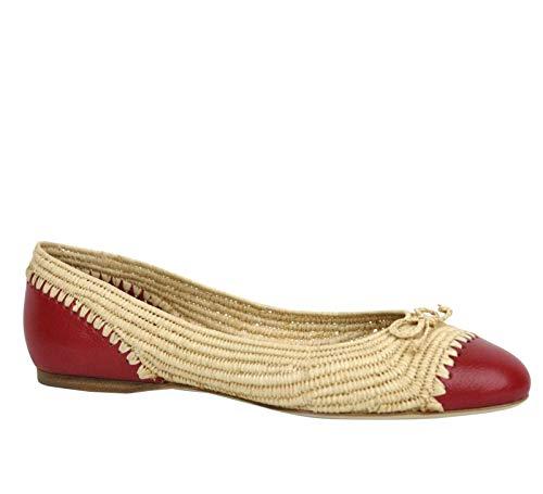 Bottega Veneta Bow Beige Red Straw Leather Ballet Flat 338295 9867 (IT 39 / US 9)