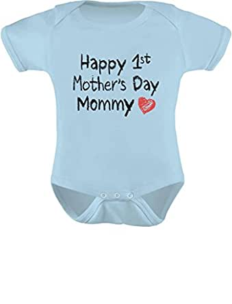 Gift for Mom - Happy First Mothers Day Mommy Infant Baby Bodysuit Newborn Aqua