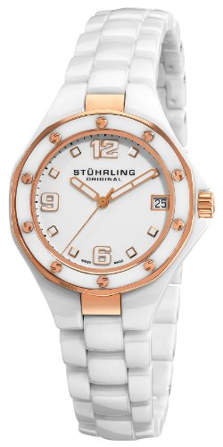 Stuhrling Original Women's 155.11EP3 Swiss Made Lady Apocalypse Noir Date White Ceramic Watch