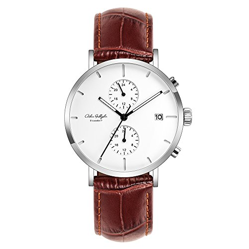 Adam Gallagher Men's Ultra-Thin Quartz Analog Date Wrist Watch With Brown Leather Strap