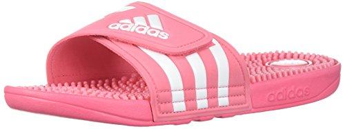 adidas Women's Adissage W Slide Sandal, Chalk Pink/White/Chalk Pink, 8 M (Pink White Sandals)