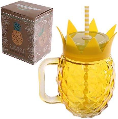 Puckator jar30/Barattolo Ananas con Cannuccia e Coperchio Metallico Giallo 11/x 9/x 14/cm