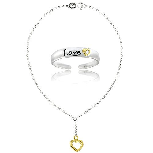 Silver Ring Tone Toe Silver (Hoops & Loops Sterling Silver Two-Tone Heart Love Anklet and Toe Ring Set)