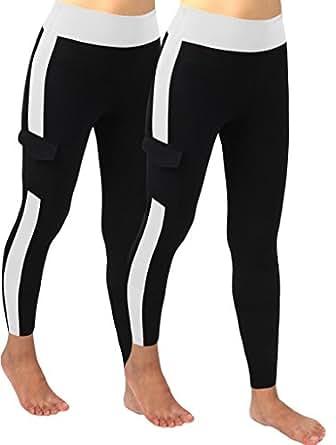 4How 2Pack Women's Tights Pants Fitness Leggings Black S