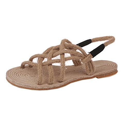 Spiaggia Evedaily da Paglia Leggero Corda di Pantofola Sandali Tessute Mano Scarpe Nero Antiscivolo Donna a Infradito TrTwSxqO