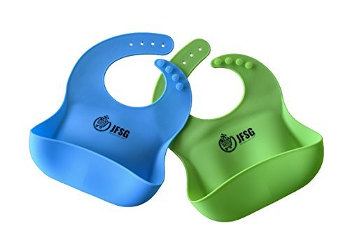Set Of Two Soft Waterproof Silicone Wide Bucket Feeding Bibs, Easy To Wipe Clean. Most Importantly 100% Safe Food-Grade. Roll UpTight For Travel