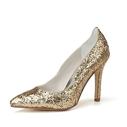 Clearbridal Women's Pointed Toe Flash Material Wedding Shoes and Prom Shoes ZXF0608-13 Gold