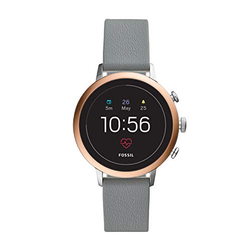 Fossil Women's Gen 4 Venture HR Two Stainless Steel and Leather Touchscreen Smartwatch, Color: Silver/Rose Gold, Grey (Model: FTW6016)