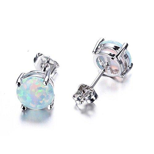wassana 1pair Fashion 925 Silver White Fire Opal Ear Studs Hoop Earrings Women Wedding ()