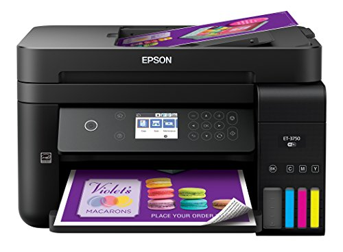 Epson WorkForce ET-3750 EcoTank Wireless Color All-in-One Supertank Printer with Scanner, Copier and Ethernet by Epson