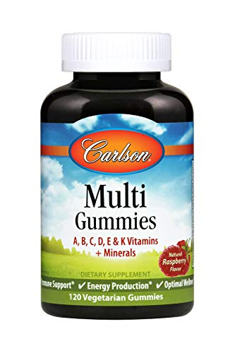 Carlson - Multi Gummies, A, B, C, D, E, & K Vitamins + Minerals, Immune Support, Energy Production & Optimal Wellness, Raspberry, 120 Vegetarian Capsules