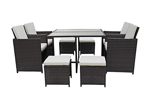 Modern 8 Piece Space Saving Outdoor Furniture Dining Set, Patio Rattan Table and Chairs Set (Brown/Beige) (Rattan Patio Style Furniture)