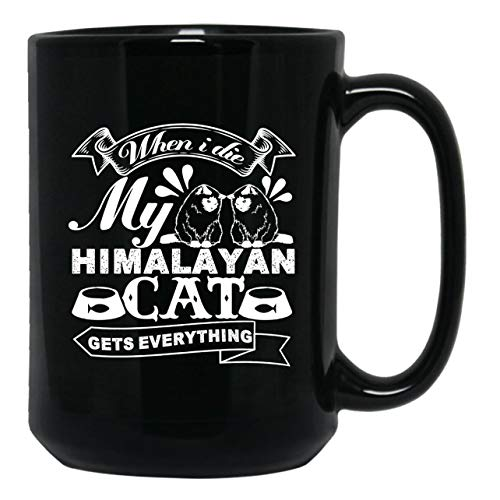 Love My Himalayan Cat Black Tea Cup, Iced Coffee Mug 15 - Black Cat Himalayan