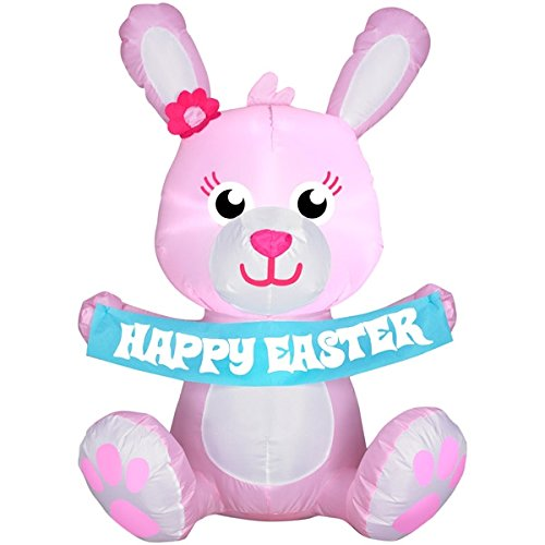 Gemmy Easter Bunny Airblown Inflatable 3.4 Ft Tall (Pink) -