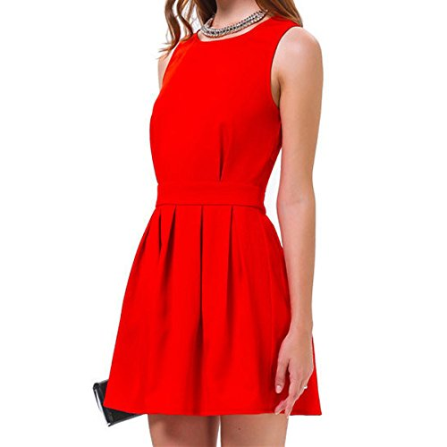 SODIAL(R)Robe Gilet sexy dos-nu Mini robe pour Party Club Rouge M