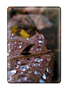 Ipad Cover Case - Waterdrops On Leaf Yellow Black Brown Orange Grey Water Nature Other Protective Case Compatibel With Ipad Air