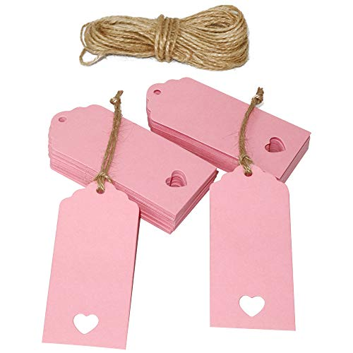 100 Pcs Father's Day Tags,Gift Tags,Paper Tags,Wedding Tags,Pink Tags Hollow Heart with Free 100 Feet Jute Twine(9cm x 4cm)