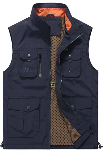 Mr.Stream Men's Quick Drying Outdoor Sports Gilet Lightweight Mountain Fishing Active Sleeveless Vest 3XL Blue by Mr.Stream (Image #1)
