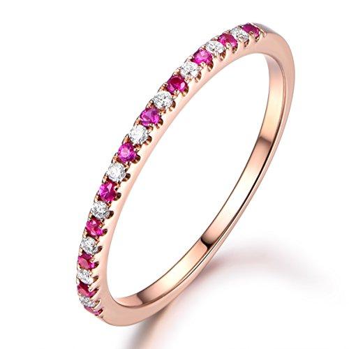 MYRAYGEM-wedding band Wedding Promise Band,Half Eternity Ruby Ring,14K Rose Gold Diamond Band,Classic Engegement Ring