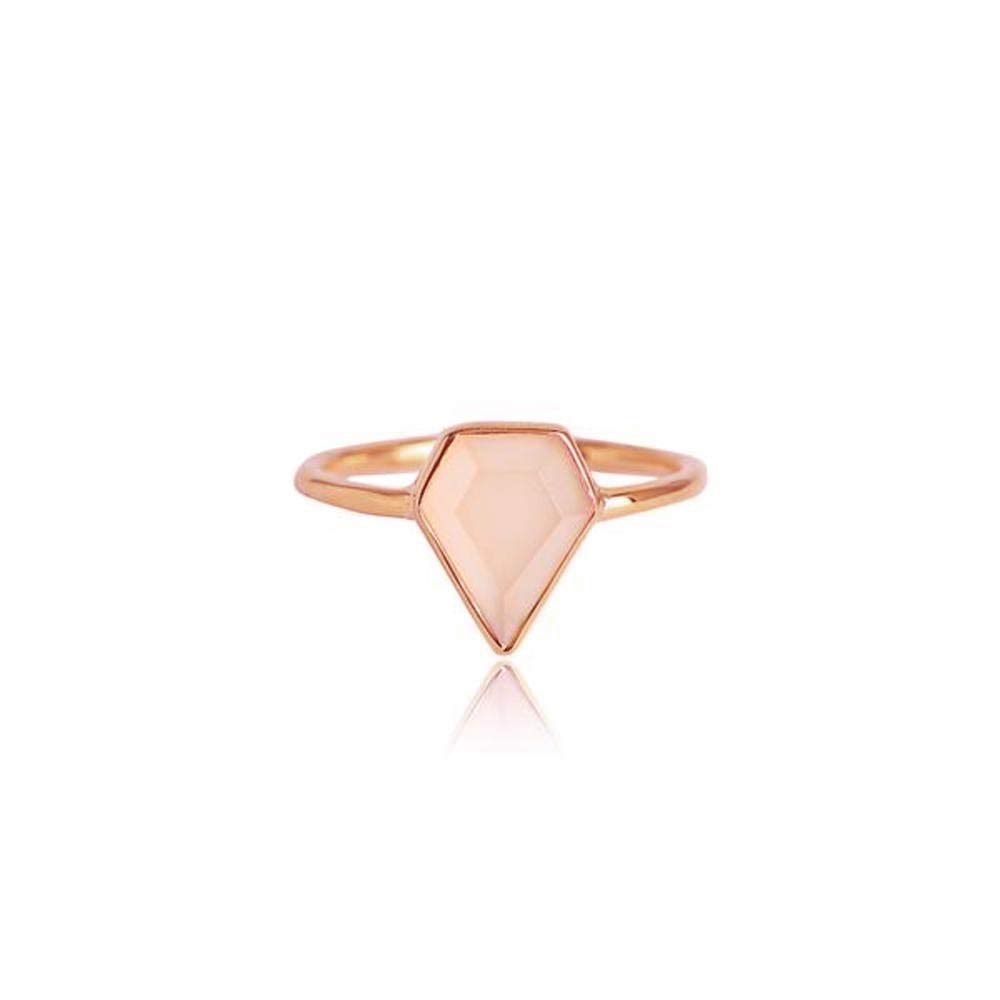 espere Diamond Shaped Bezel Set Pink Chalcedony Ring Size 6
