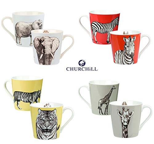 Couture Zebra - Churchill China Couture The Kingdom Giraffe Elephant Tiger Zebra Bumble Mug Cup 10.98 fl oz Set of 4