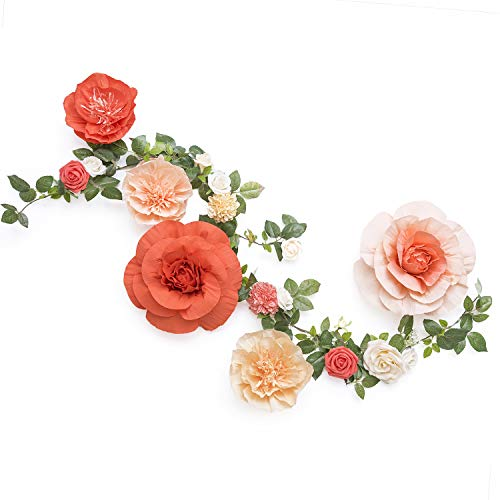 Ling's moment Handcrafted Large Crepe Paper Flowers(5pcs)& 5.5FT Rose Vine Greenery Garland w/Artificial Mixed Flower, Table Runner for Wedding Backdrop Photo Booth Arch Centerpiece(Orange+Peach)