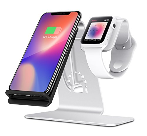 Bestand 2 in 1 Phone Wireless Charging Stand & Apple Watch Charging Stand Holder for Apple iWatch/iPhone X/8 Plus/8-(Silver)