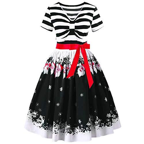 RTYou Women Christmas Dress Santa Claus Striped Printed Dress Evening Prom Costume Swing Mini Dress (Black, M) ()