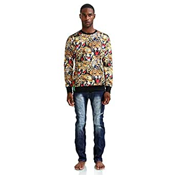 Pizoff Mens Boys Students Long Sleeve Crew Neck 3D All Over Leopard Print Pullover Loose Sweatshirts