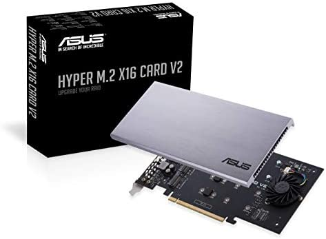 ASUS Hyper M.2 X16 PCIe 3.0 X4 Expansion Card V2 Supports 4 NVMe M.2 (2242/2260/2280/22110) Upto 128 Gbps for Intel VROC and AMD Ryzen Threadripper ...