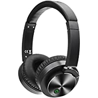 Active Noise Cancelling Headphones Bluetooth Wireless Headsets Built in Microphone HiFi Stereo Over Ear Portable Foldable Comfortable Leather Earbuds for Travel Home Office (black)