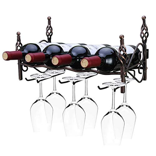 WYOYO Wine Rack Wall-Mounted Wrought Iron Wine Glass Holder Creative Home Decorations Can Be Placed 4 Bottles of Red Wine and 6 Wine Glasses 411922cm (Color : Bronze, Size : 411922cm) ()