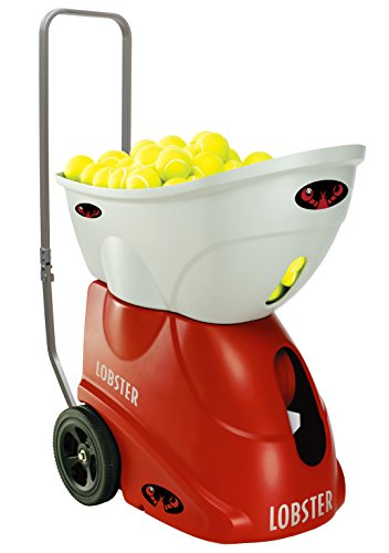 Lobster Sports - Elite One Tennis Ball Machine - Battery Operated - Lightweight - Full-Featured Tennis Ball Hopper - 4- to 8-Hour Battery Life - 60-Degree Lobs - Optional -
