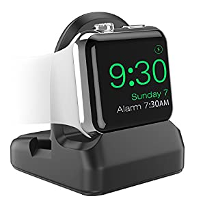 MoKo Compatible with Apple Watch Stand, TPU Charging Station Dock Support Nightstand Mode, Fit Apple Watch Series 4 2018/ Series 3/ Series 2/ Series 1, 44mm/ 40mm/ 42mm/ 38mm- Black