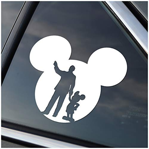 - Disney Style Mickey Head with Walt & Mickey Mouse Magic Kingdom Inspired Vinyl Car Window Decal Sticker (White)